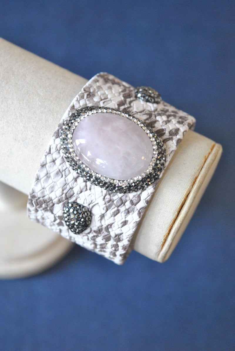 TAUPE ECO LEATHER WITH ROSE QUARTZ AND SWRAOVSKI CRYSTALS CUFF