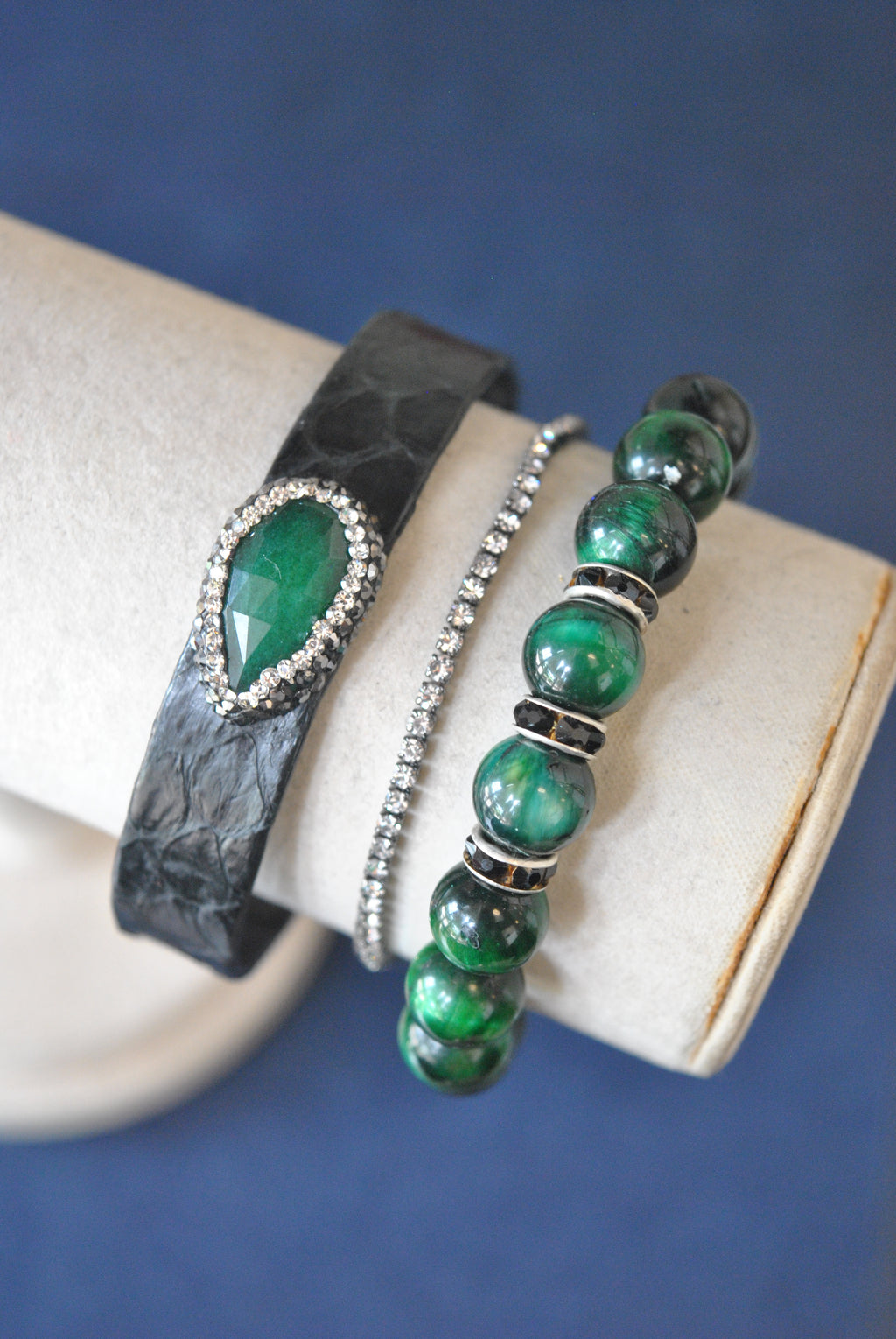 BLACK AND EMERALD GREEN ECO LEATHER CUFF, CRYSTALS AND GREEN TIGEREYE BRACELETS