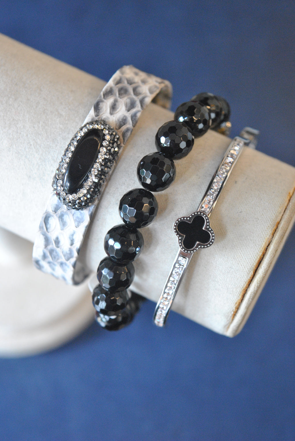 BLACK ONYX TAUPE ECO LEATHER CUFF AND CRYSTAL BANGLE BRACELET SET