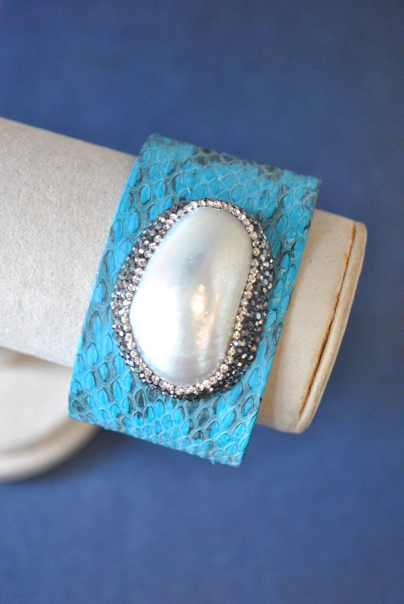 BLUE ECO LEATHER WITH SHELL AND SWAROVSKI CRYSTALS CUFF