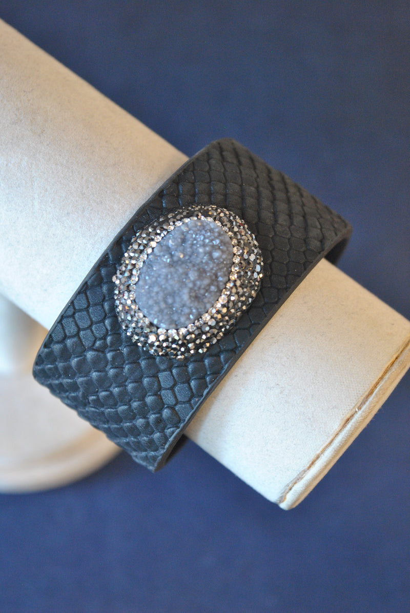 BLACK ECO LEATHER CUFF WITH DRUZY AND SWAROVSKI CRYSTALS