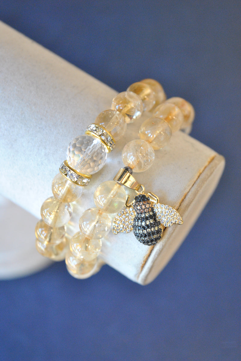 CITRINE STRETCHY BRACELETS SET WITH GOLD BEE CHARM