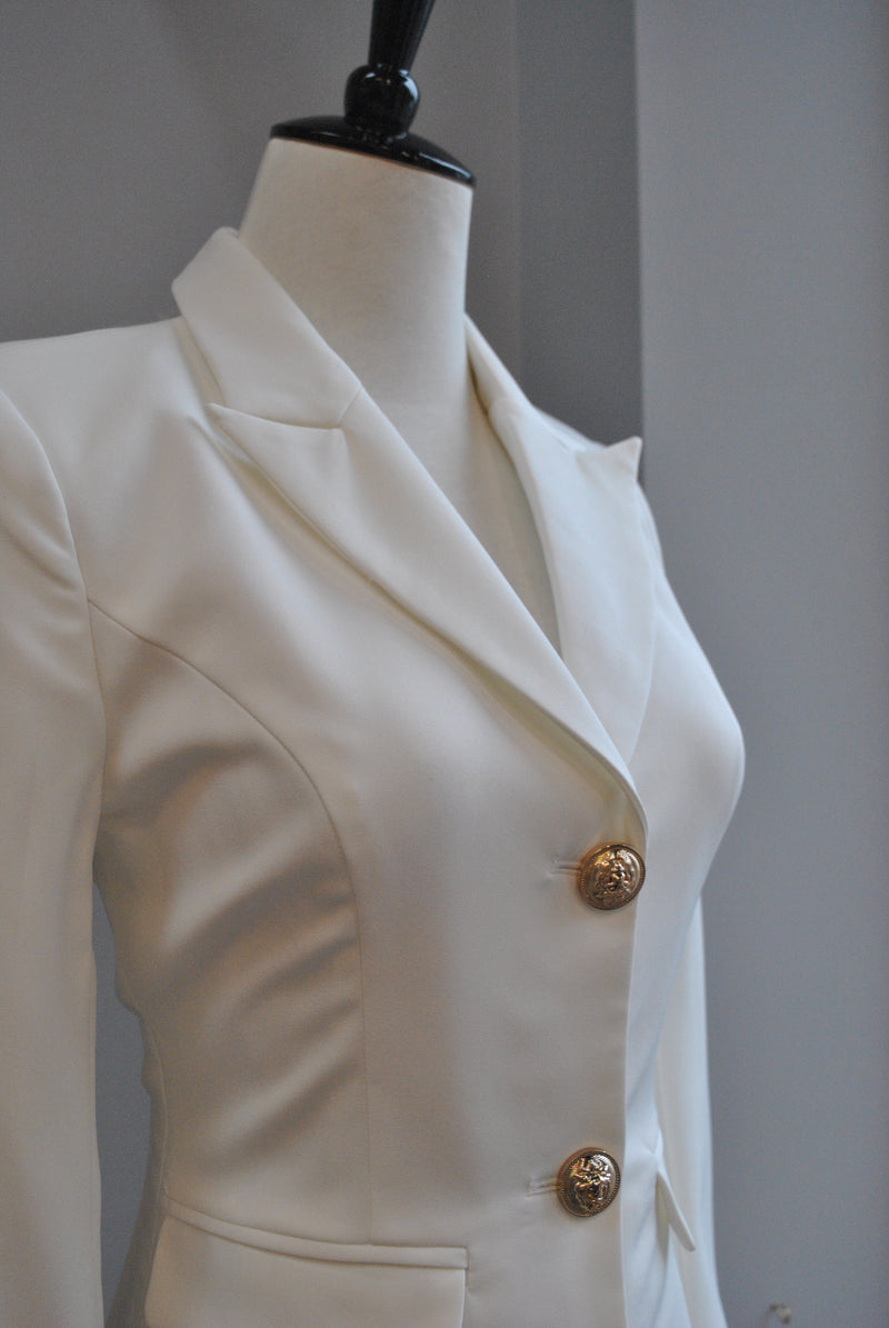 WHITE JACKET DRESS WITH GOLD BUTTONS