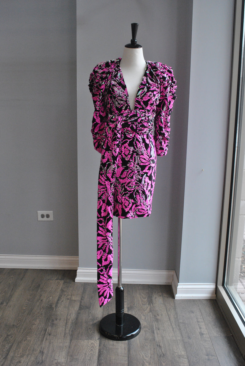 FUSCHIA PINK AND BLACK SEQUINS PARTY DRESS WITH STATEMENT SLEEVES