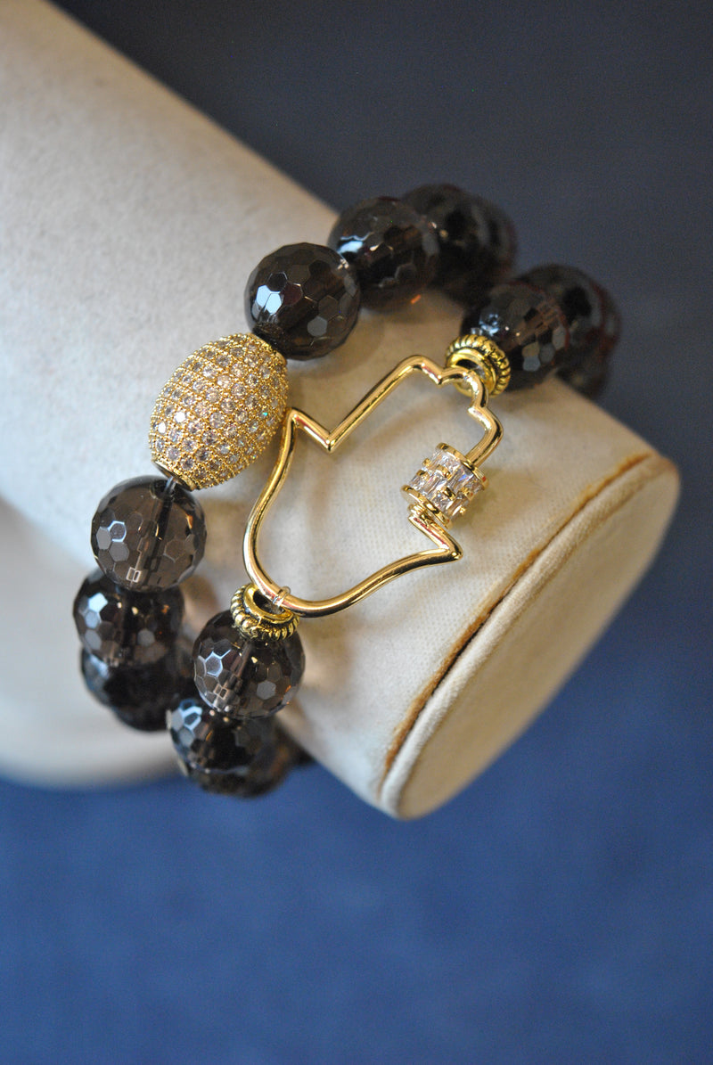 SMOKY QUARTZ AND HAMSA RHINESTONES STRETCHY BRACELET SET