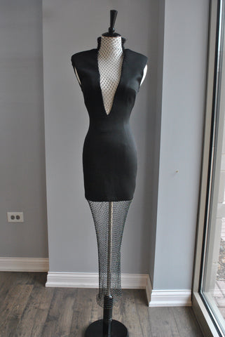 BLACK PARTY BANDAGE DRESS WITH MESH TOP