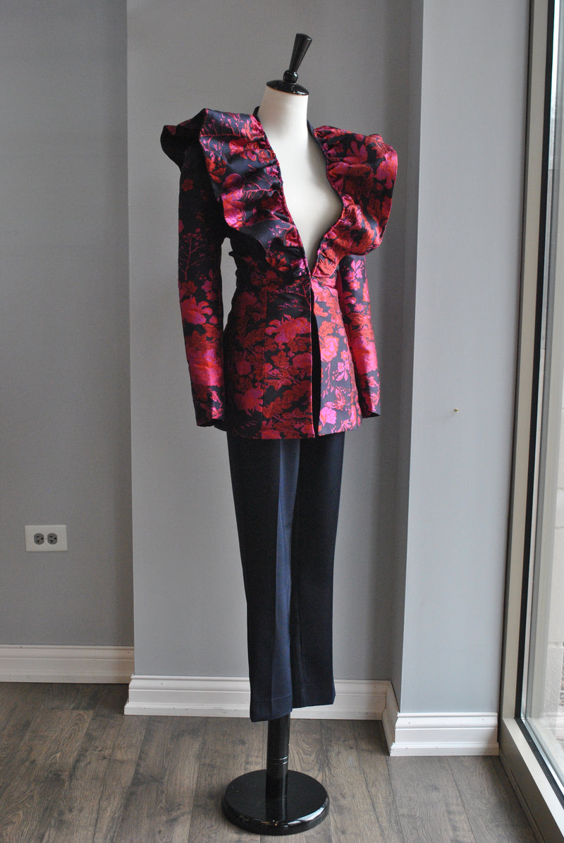 NAVY AND RED STATEMENT JACKET AND CROPPED PANTS SET