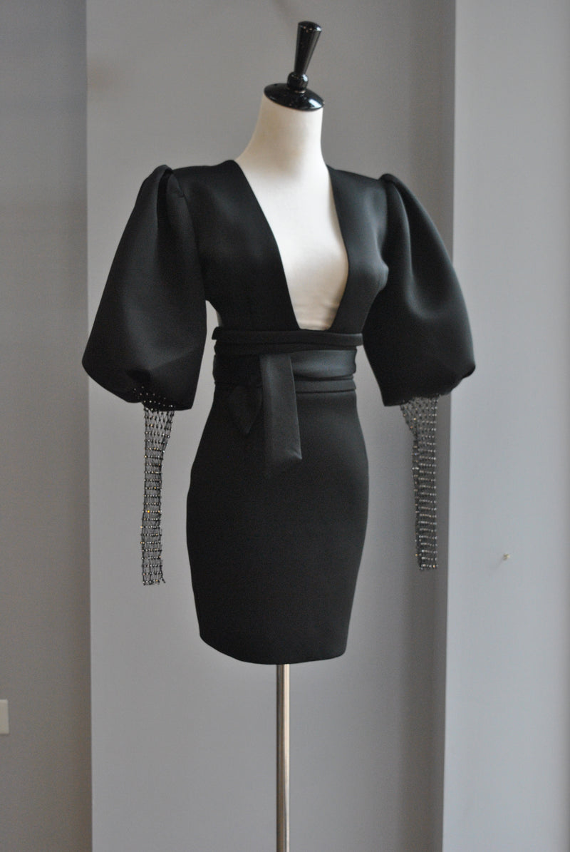 BLACK MINI PARTY DRESS WITH THE STATEMENT SLEEVES AND CRYSTAL MESH DETAIL