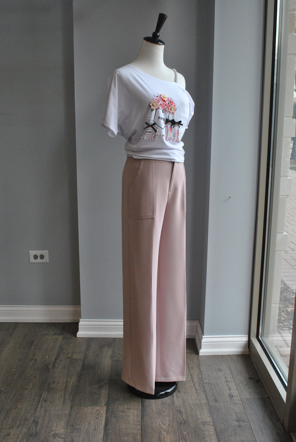 BLUSH PINK HIGH WAISTED FLAIR PANTS