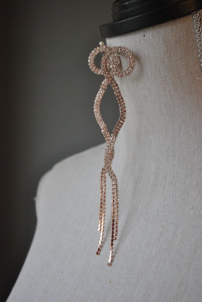 FASHION COLLECTION - ROSE GOLD CRYSTALS LONG STATEMENT EARRINGS