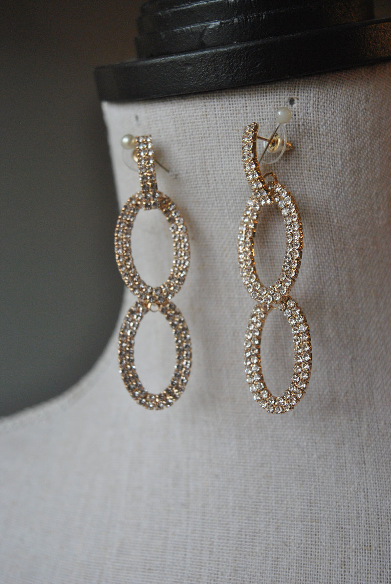 FASHION COLLECTION - GOLD RHINESTONES EARRINGS