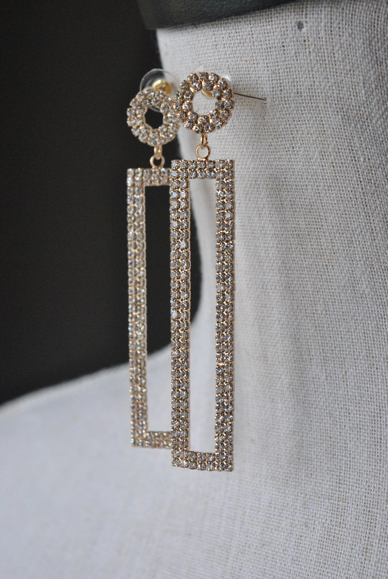 FASHION COLLECTION - GOLD RHINESTONES EVENING EARRINGS
