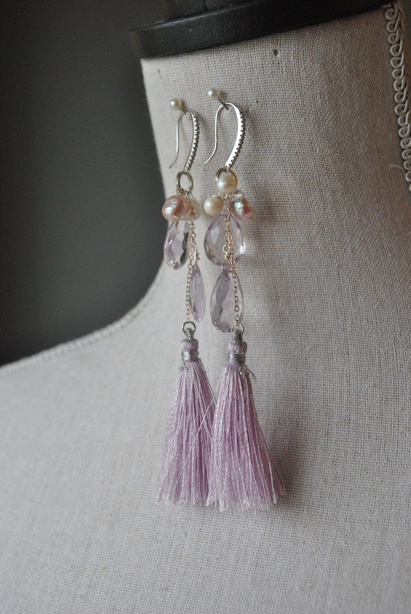 LAVENDER AMETHYST, PEARLS AND TASSEL LONG EARRINGS