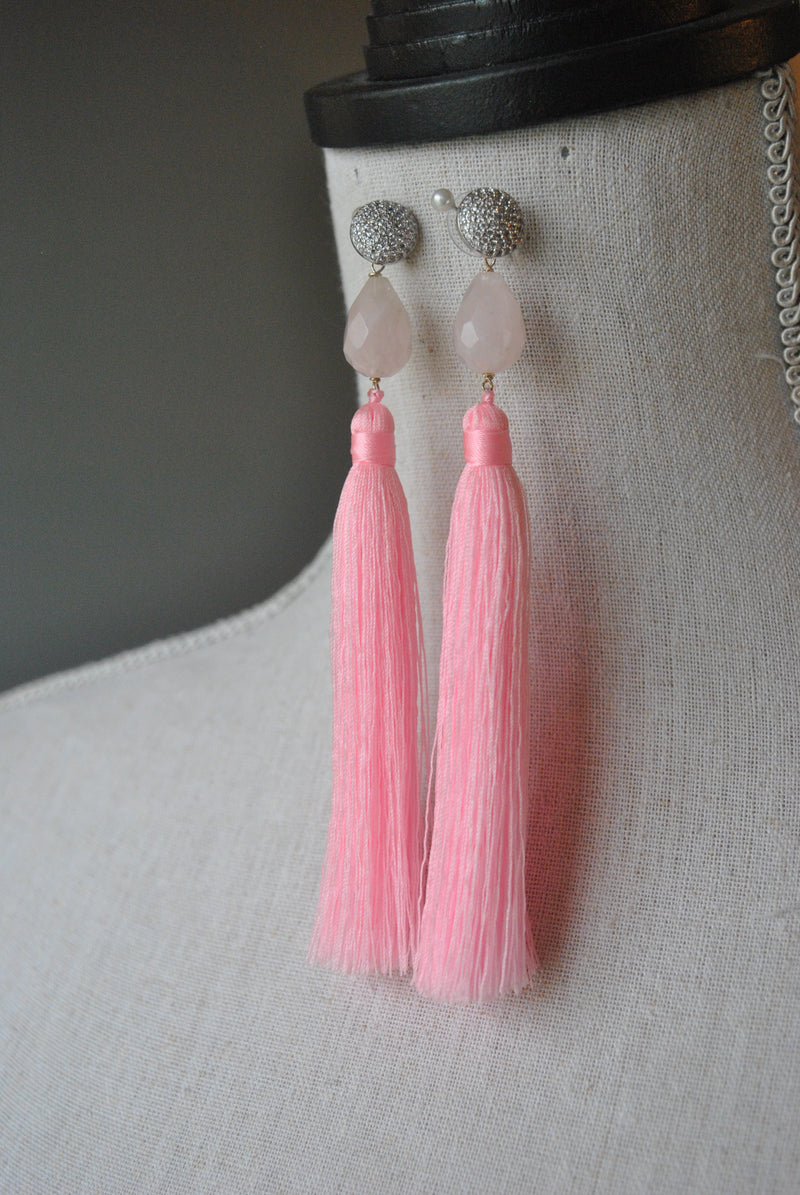 ROSE QUARTZ AND PINK TASSEL LONG EARRINGS