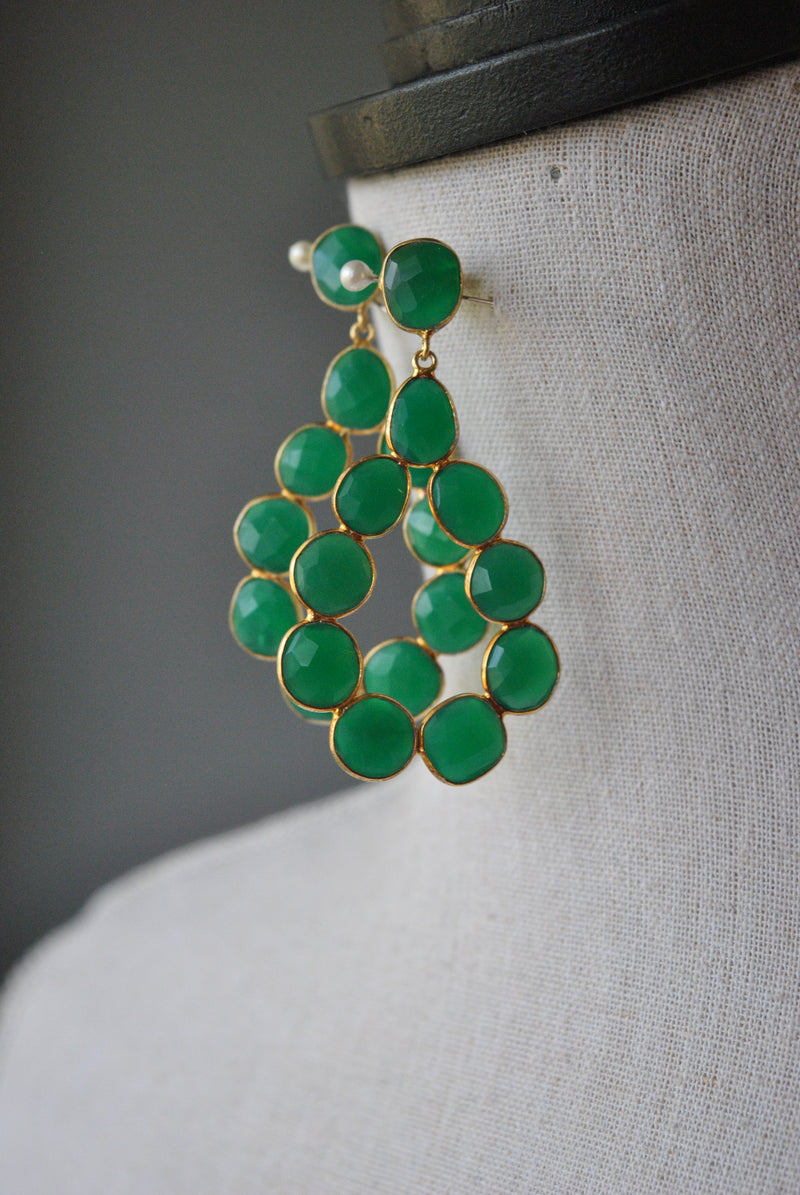 EMERALD GREEN ONYX AND 14KT GOLD ON SILVER STATEMENT EARRINGS