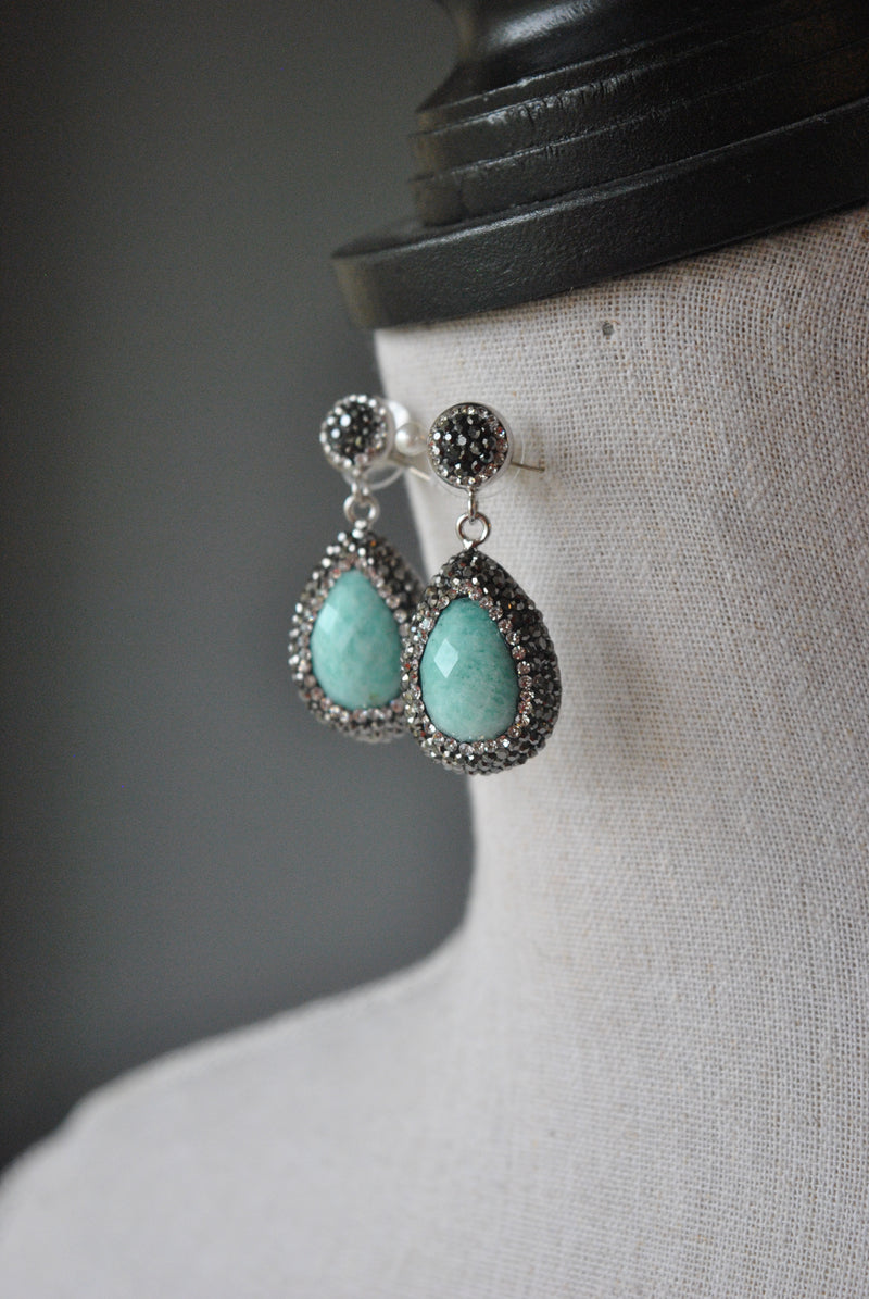 AMAZONITE TAERDROPS AND SWAROVSKI CRYSTALS STUDS EARRINGS