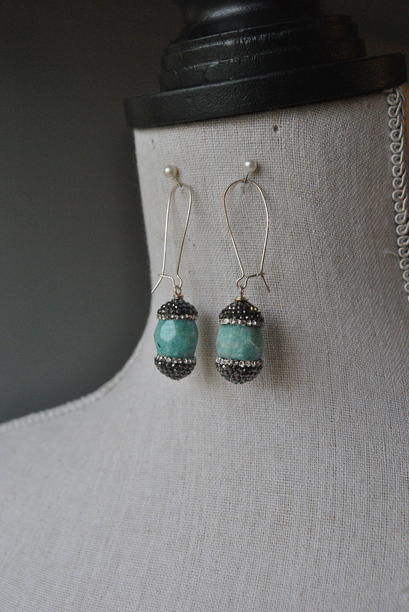 MINT AMAZONITE AND SWAROVSKI CRYSTALS DROP EARRINGS