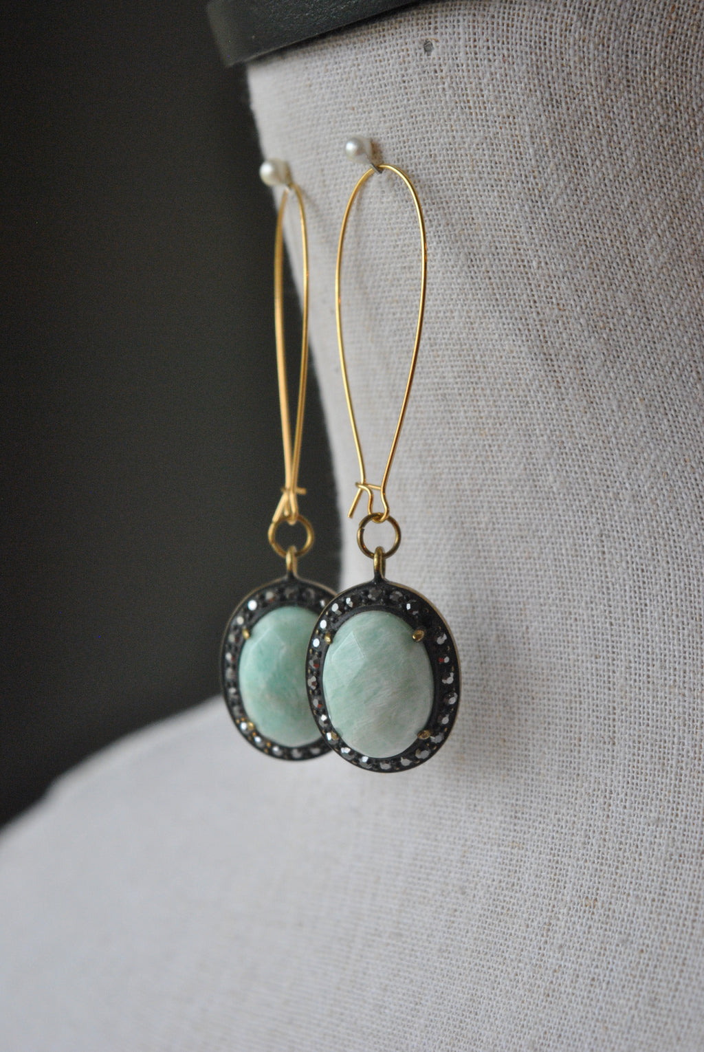 AMAZONITE ON GOLD LONG EARRINGS