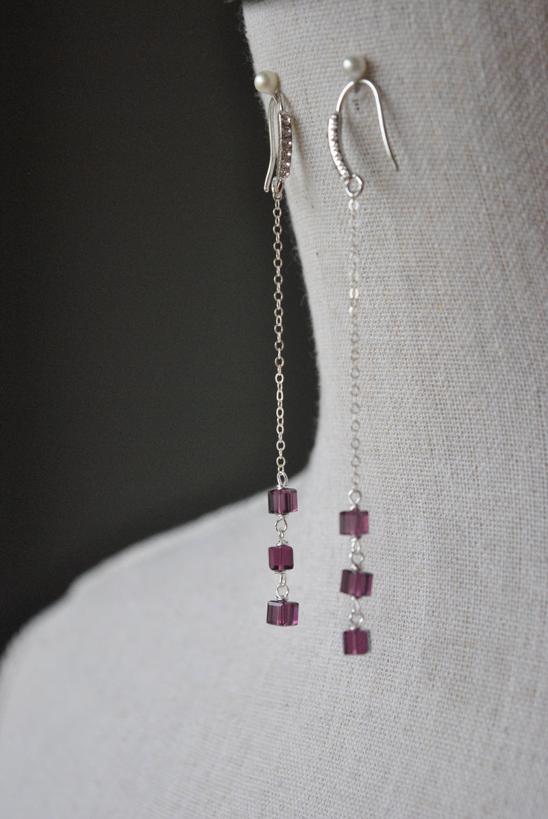 PURPLE SWAROVSKI CRYSTALS CHAIN DROP EARRINGS