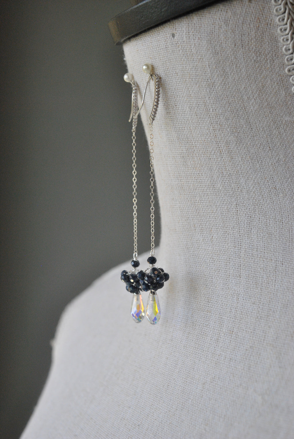 BLUE SAPPHIRE AND SWAROVSKI CRYSTALS CHAIN LONG DROP EARRINGS