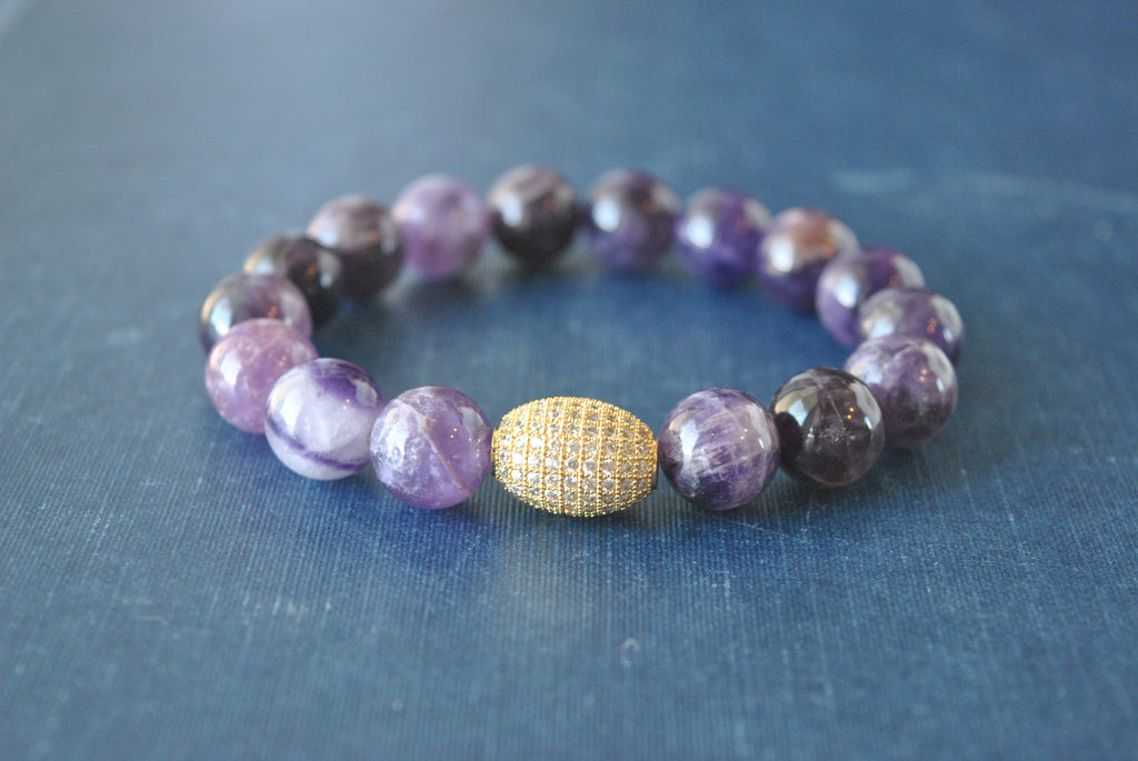 AMETHYST ON GOLD STRETCHY BRACELETS SET