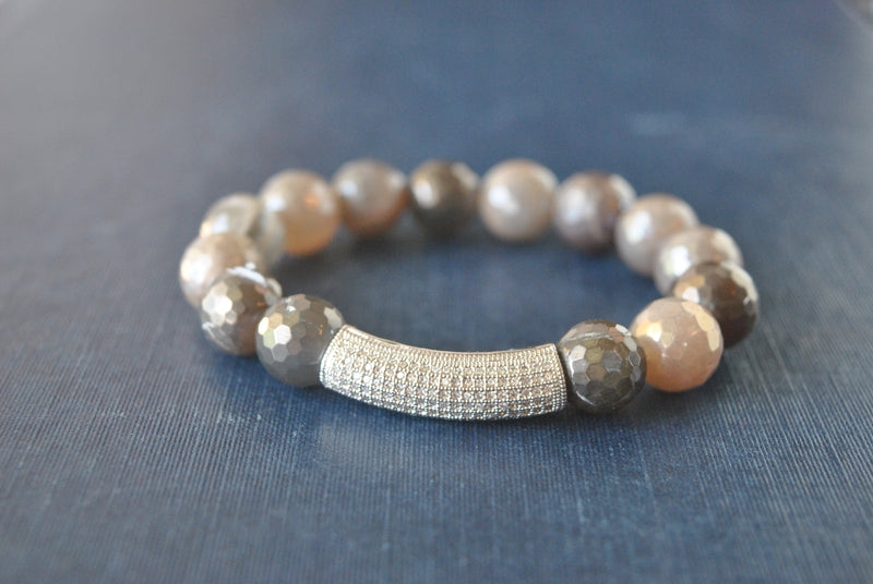 GARK GREY AND BURGUNDY MOONSTONES WITH SILVER RHINESTONES STRETCHY BRACELETS