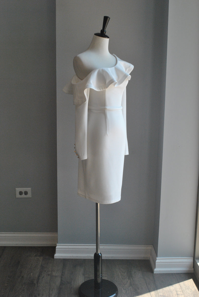 WHITE ASYMMETRIC DRESS WITH A RUFFLE DETAIL