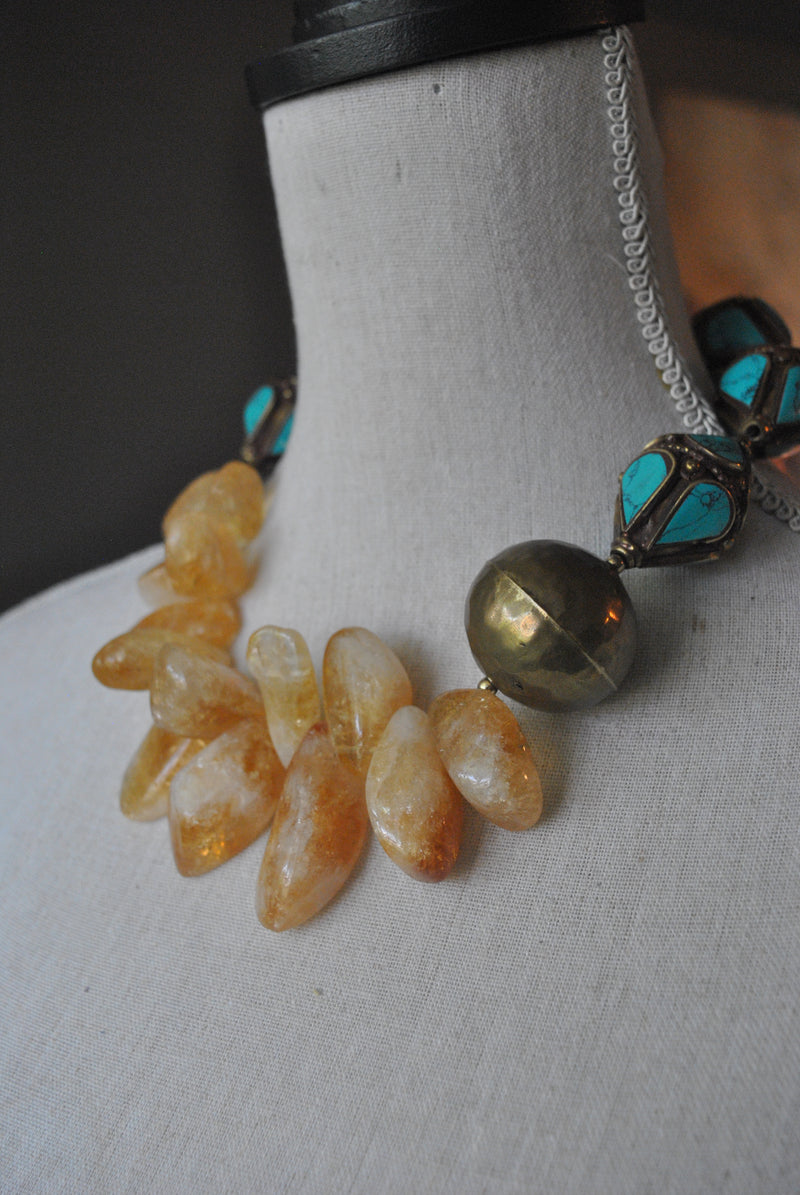 CITRINE FREEFORM AND TURQUOISE VINTAGE BEADS ASYMMETRIC STATEMENT NECKLACE