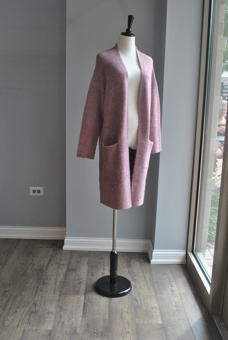 RASPBERRY OPEN STYLE CARDIGAN WITH SIDE POCKETS