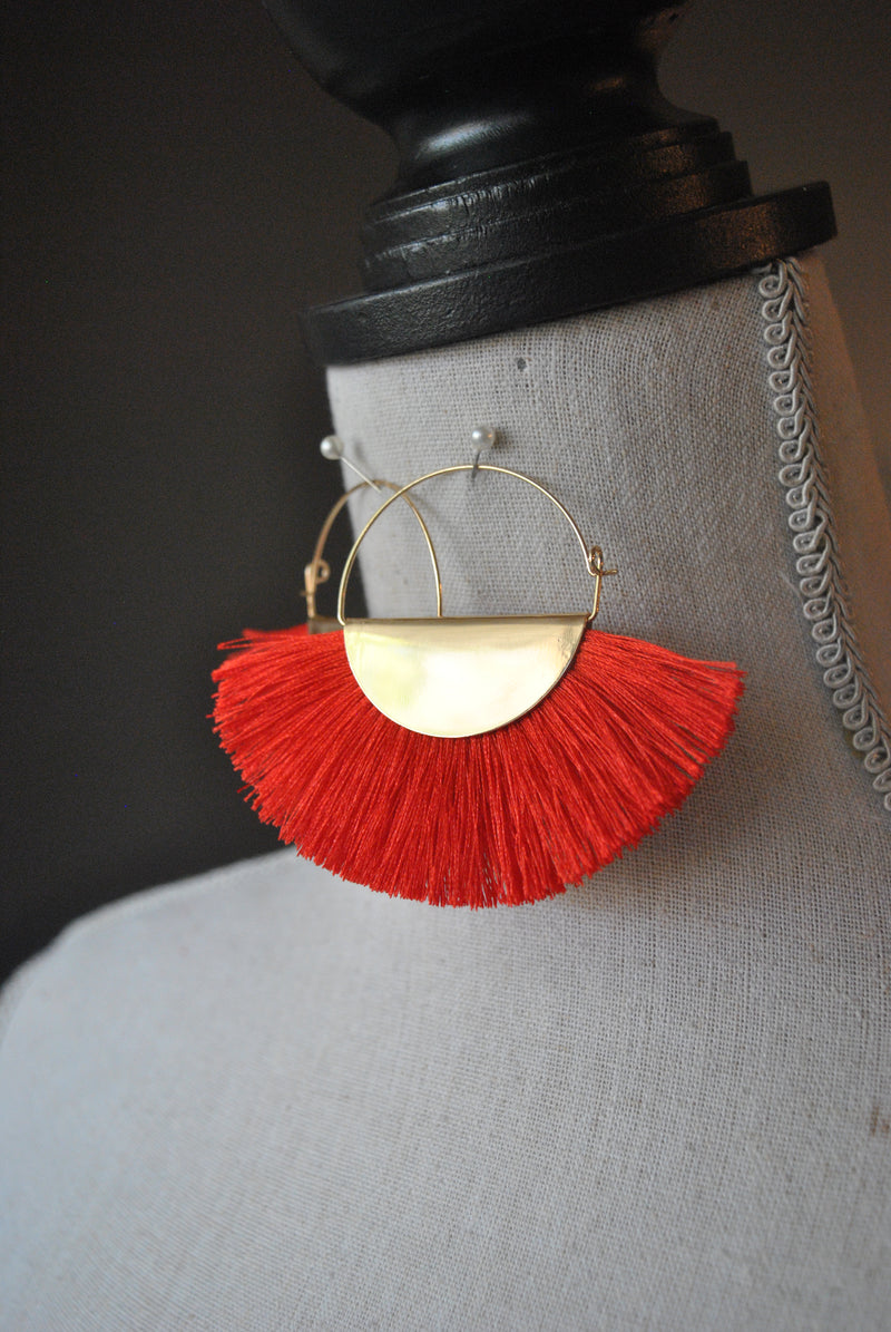 FASHION COLLECTION - RED TASSEL EARRINGS