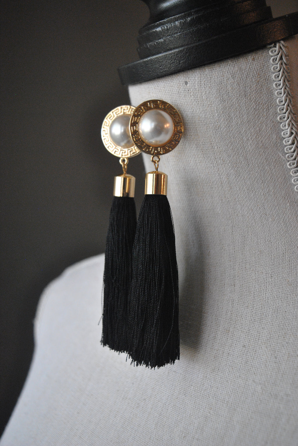FASHION COLLECTION - BLACK TASSEL AND A PEARL LONG EARRINGS