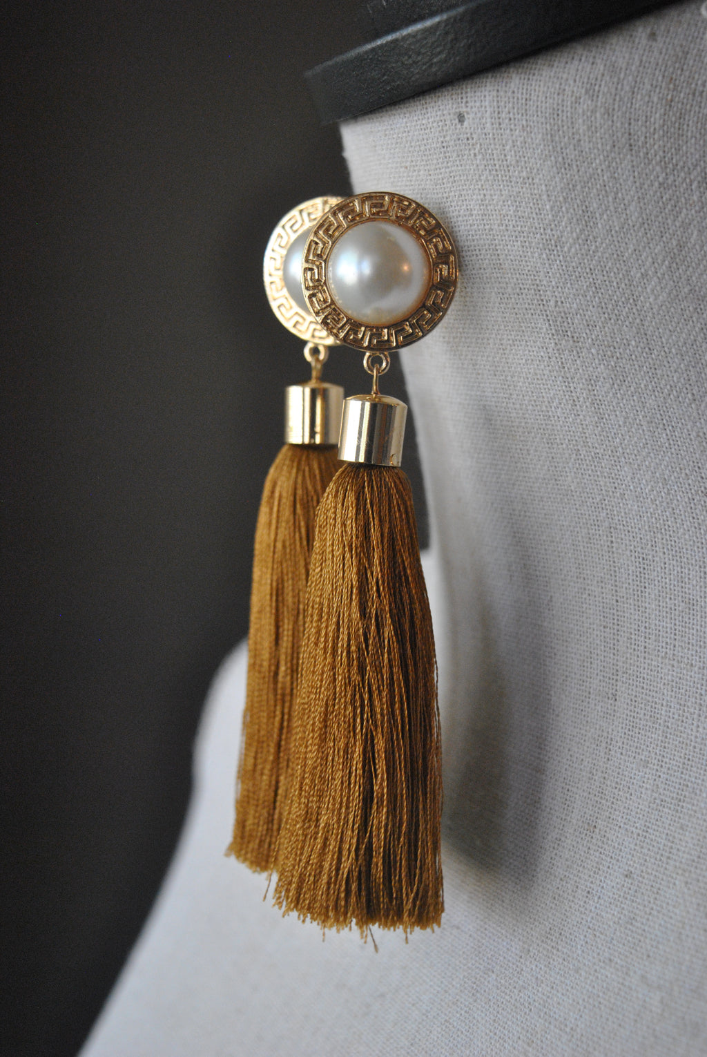 FASHION COLLECTION - BROWN TASSEL LONG STATEMENT EARRINGS