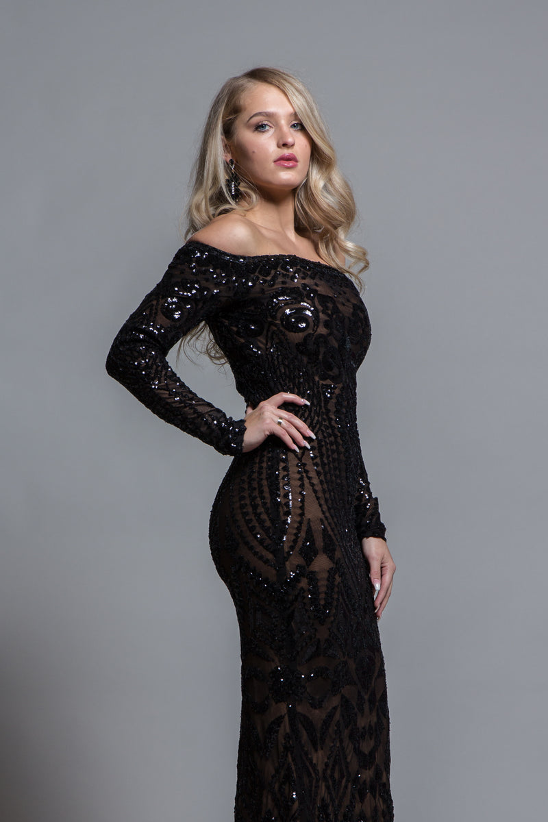 BLACK SEQUINS OFF THE SHOULDER EVENING GOWN