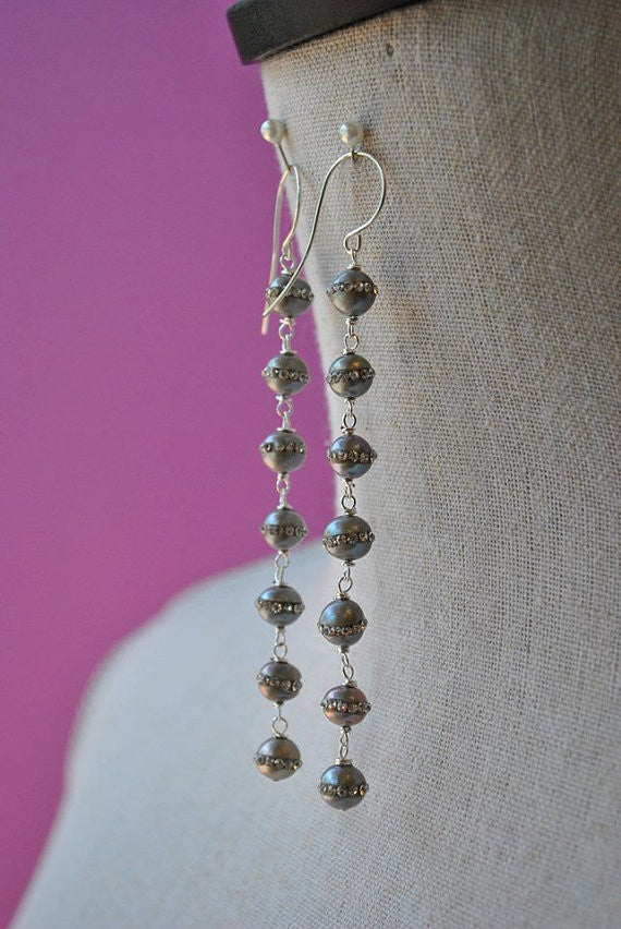 FRESHWATER PEARLS IN SILVER WITH SWAROVSKI CRYSTALS LONG STATEMENT EARRINGS