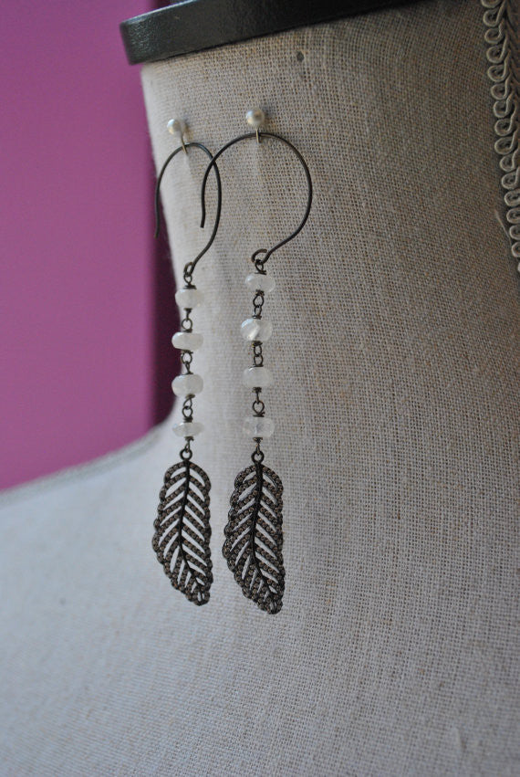 MOONSTONE AND RHINESTONES FEATHERS WITH GUNMETAL FINISHED LONG EARRINGS