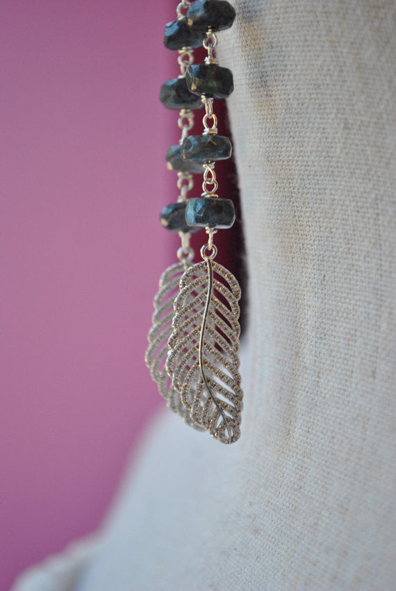 LABRADORITE AND RHINESTONES FEATHER LONG EARRINGS