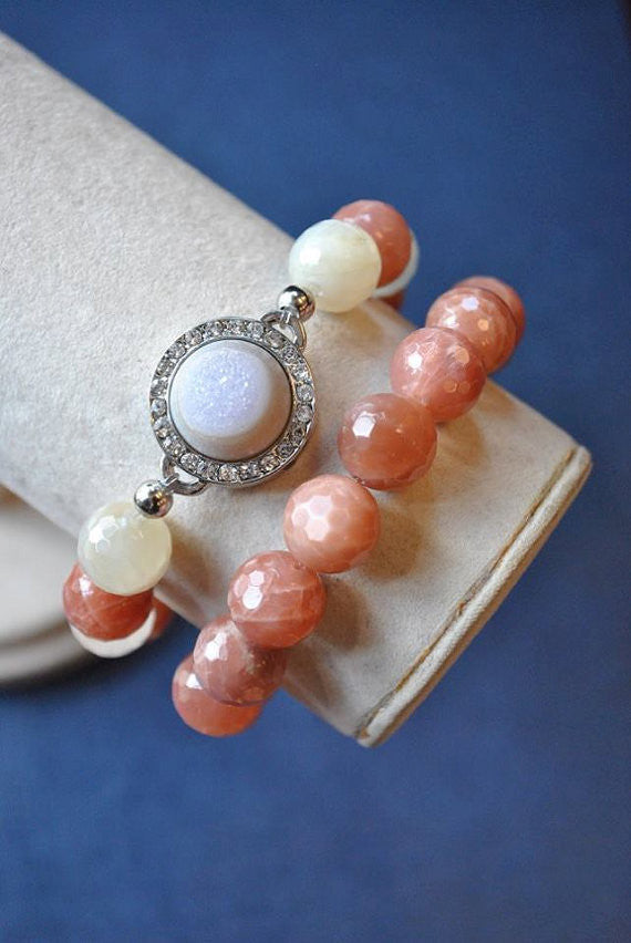 PEACH MOONSTONE AND WHITE DRUZY CRYSTALS STRETCHY BRACELETS SET