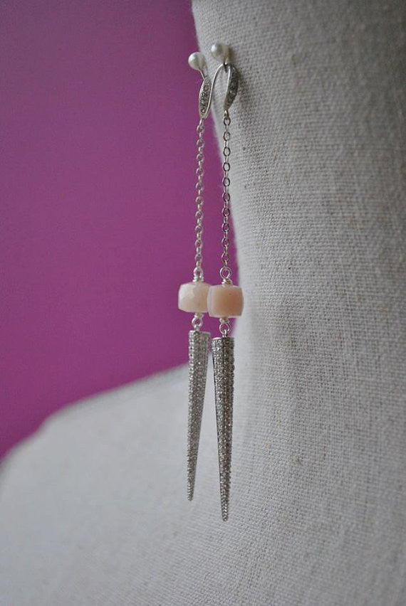 PINK PERUVIAN OPAL AND SPIKES LONG CHAIN EARRINGS