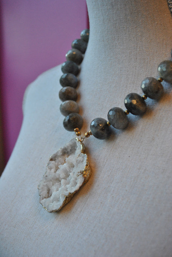 LABRADORITE RONDELLES AND WHITE DRUZY CRYSTALS STATEMENT NECKLACE
