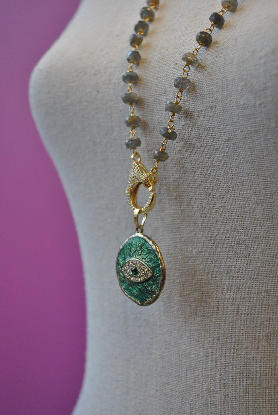 LABRADORITE AND GREEN ANGEL EYE PENDANT LONG KASHMERE NECKLACE