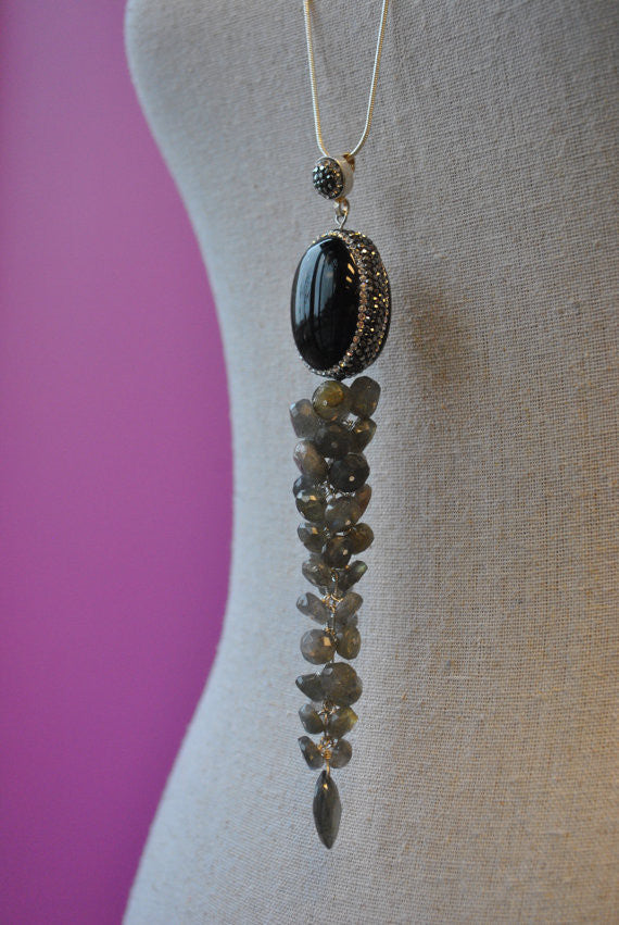 LABRADORITE AND BLACK ONYX OVERSIZE LONG CHAIN PENDANT