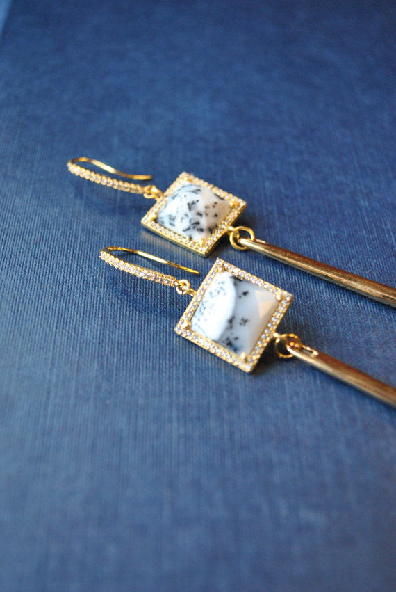 WHITE AGATE SQUARES AND RHINESTONES GOLD SPIKE LONG STATEMENT EARRINGS