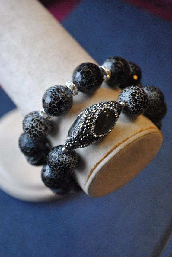 BLACK AGATE, CAT'S EYE AND SWAROVSKI CRYSTALS STRETCHY BRACELETS SET