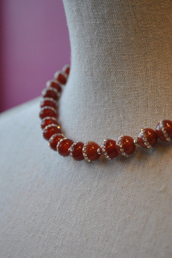 CARNELIAN AND SWAROVSKI CRYSTALS NECKLACE