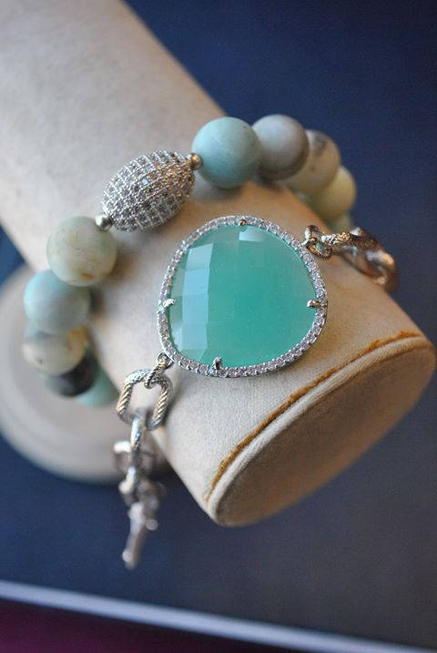 AMAZONITE STRETCHY BRACELET AND MINT CHALCEDONY CHAIN BRACELET SET