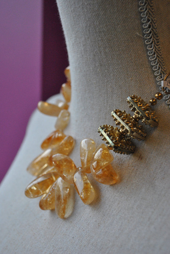 CITRINE AND VINTAGE GOLD ELEMENTS STATEMENT ASYMMETRIC NECKLACE