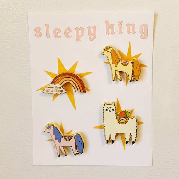Collection of 4 Hard Enamel Magnets - sleepy king