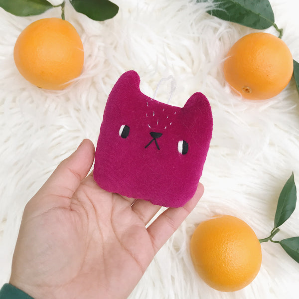 Fuschia Cat Ornament - sleepy king
