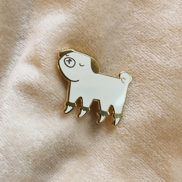 Georgina the fancy golden pug - Hard Enamel Pin - Ready to Ship - sleepy king