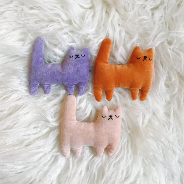 Mini velveteen cats - CHOOSE YOUR COLOR - Ready to Ship